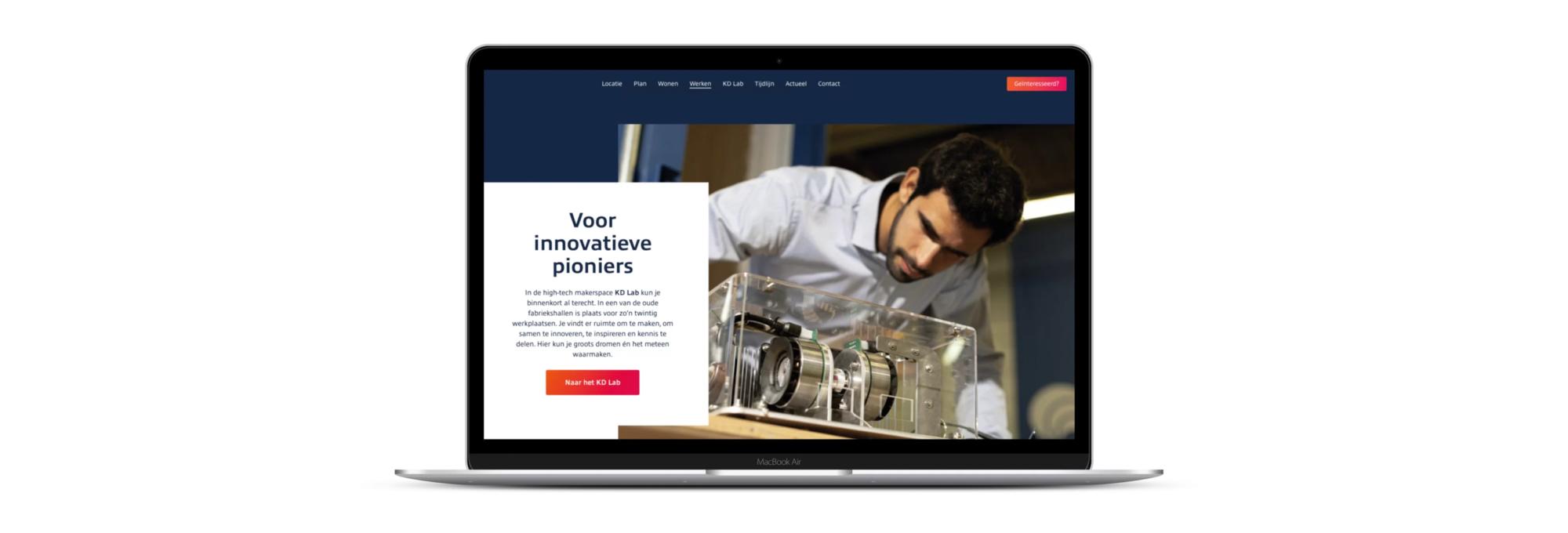 De nieuwe website van het Kabeldistrict sluit met de kleuren goed aan bij het gebied en bij de nieuwe functies.