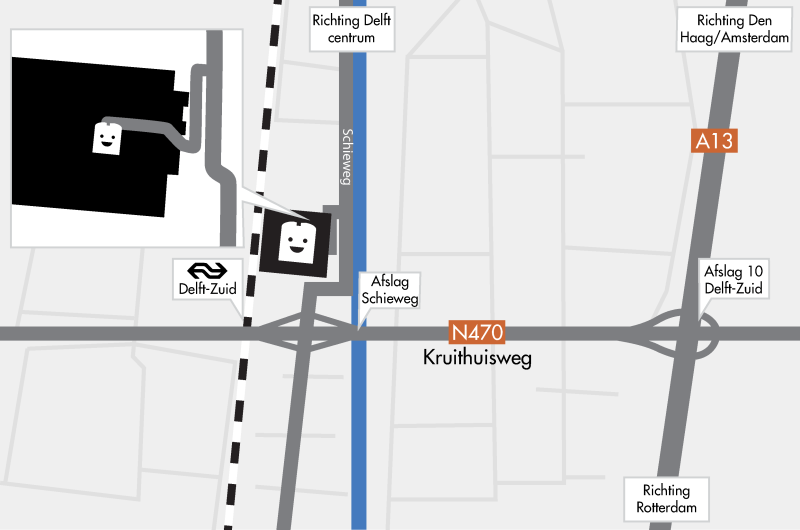 Kaart routebeschrijving de Kabelfabriek Delft