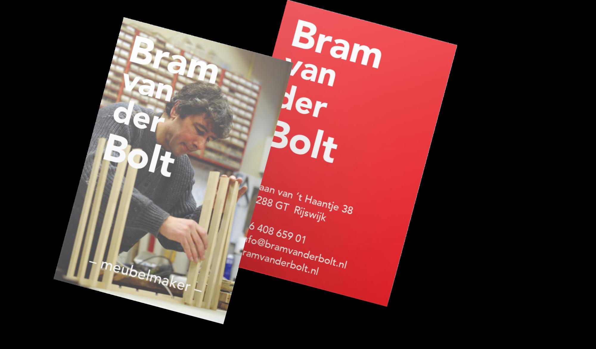 Nieuwe visitekaartjes voor meubelmaker Bram van der Bolt.