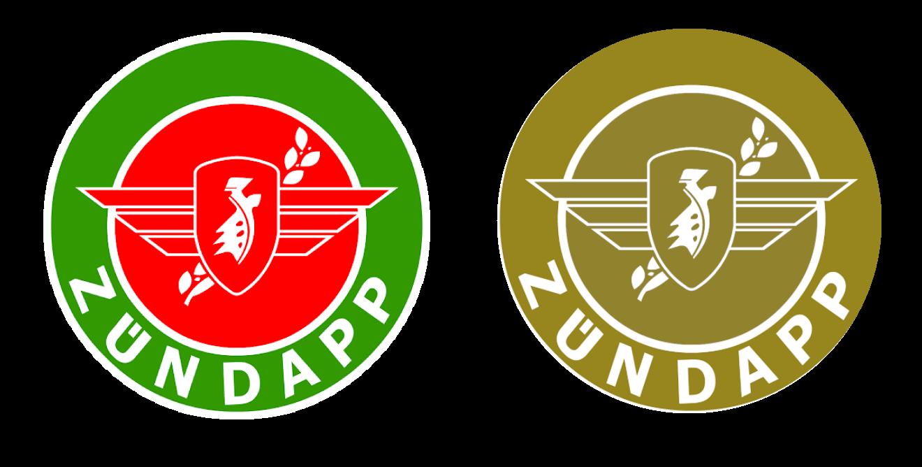 het logo van Zundapp in normale kleuren en weergegeven zoals kleurenblinden het zien.